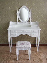 Hot sell NC paint good finishing MDF white mirrored vanity dressing table with stool