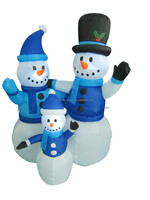 120cm/4ft high polyester Christmas inflatable snowmen family with led light decoration