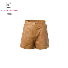 wholesale high quality sheep skin leather shorts for women