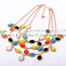 Hot popular jewelry necklace for girls fine quality multicolor gemstone necklaces buy wholesale from China