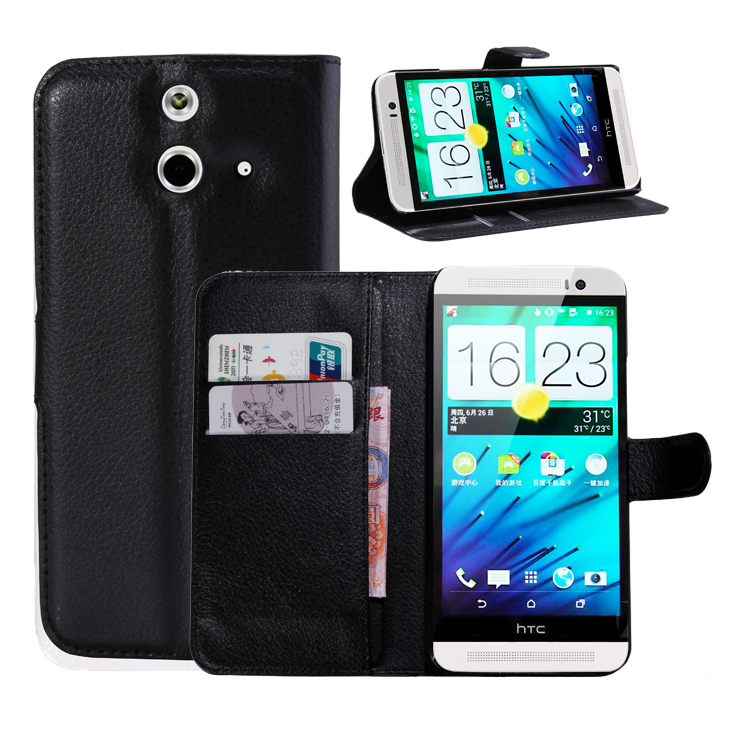 Litchi PU Card Holder Wallet Flip Leather Case For HTC One E8 /One E8 Ace /One E8 Dual Sim