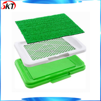 Pet Doggy Potty Patch Indoor Training Patch Dog Toliet Training Tray With Artificial Grass Drain Tray
