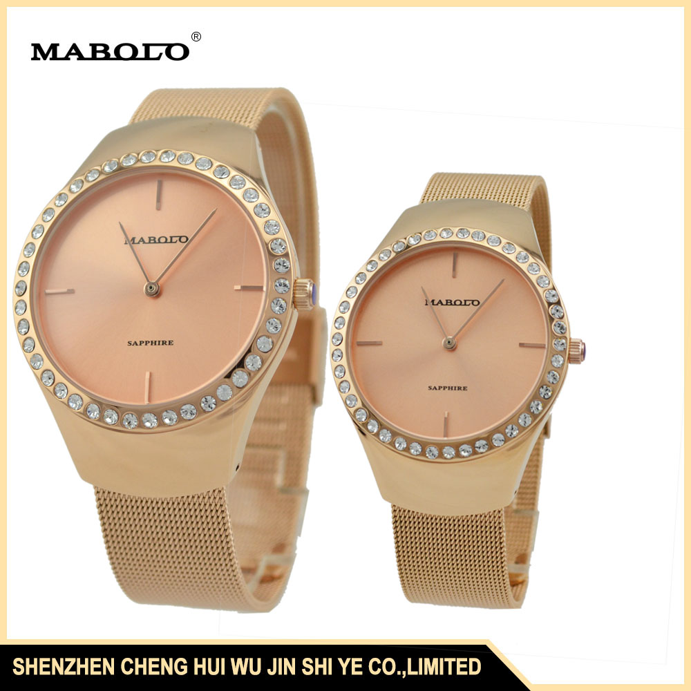SS1007GLC IP Rose Gold Stones Private Label Watch ManuFacturers Slim Couple Wrist Watch