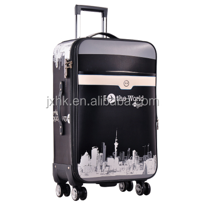 2017 high quality eminent PU luggage bags trolley travel case