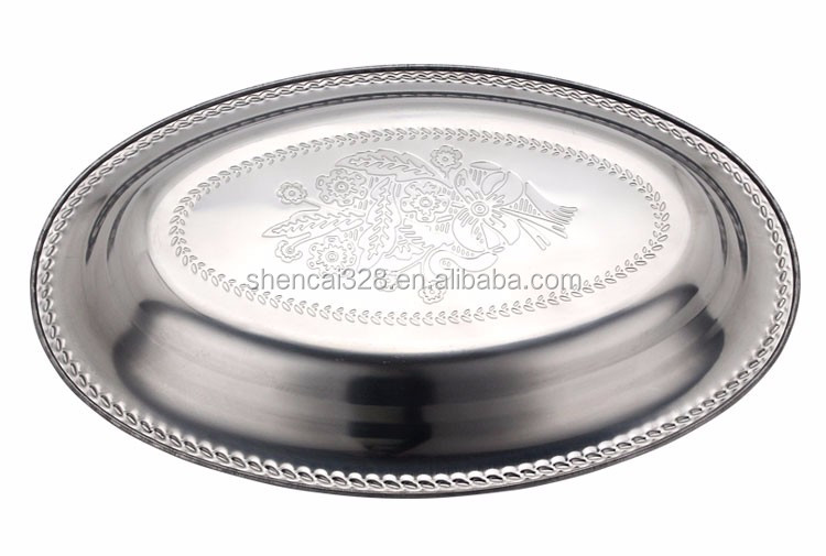 Wholesale stainless steel fish oval shaped serving dish food plate dinner tray