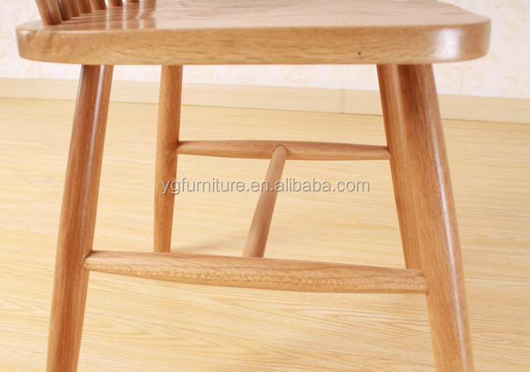 Chinese High Back Dining Chair Wood, Rubber Wood Natural Finish