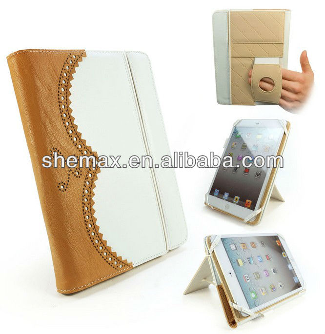 Alibaba Best Sellers Leather Case Cover for ipad Mini 2 Brogue White