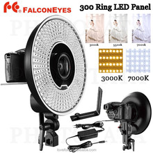 FalconEyes DVR-300 Dual Color 300 LED Ring Light 3000K-7000K Adjustable Photography Led Video Ring Light with Camera Bracket