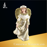 christmas decoration Resin gold glitter wing Angel statue