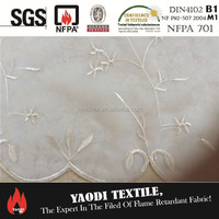 100 polyester fire resistant voile embroidery fabric