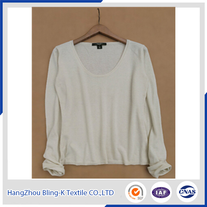Classical pure colour silk cashmere sweater long sleeve plain knitting pullover for women/ladies