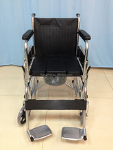 Chrome manual Commode wheelChair with soft cushion