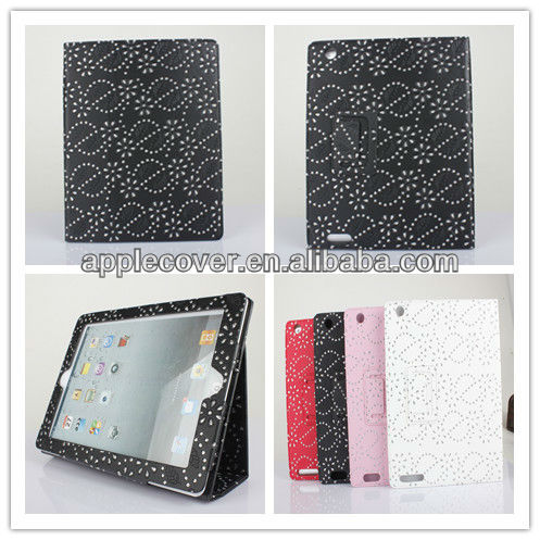 Leather diamond case for ipad 2 for ipad 3 bling case leather
