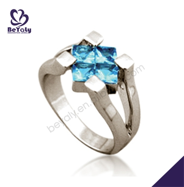 Prong setting ladies rare blue color lucky stone silver ring