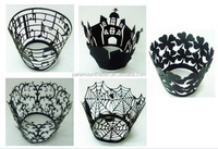 Laser cut cupcake wrapper paper black cupcake wraps