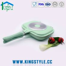 Chiniese top supplier diamond coating frying pan, ceramic double sided fry pan