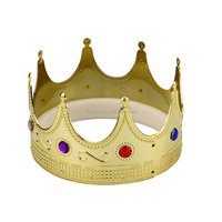 Novelty Plastic Gold King Party Crown For Adults