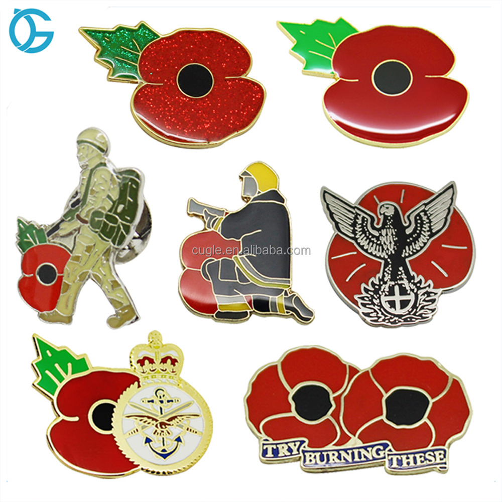 Top Quality Custom Metal Flower Hard Enamel Lapel Pin Poppy Badge