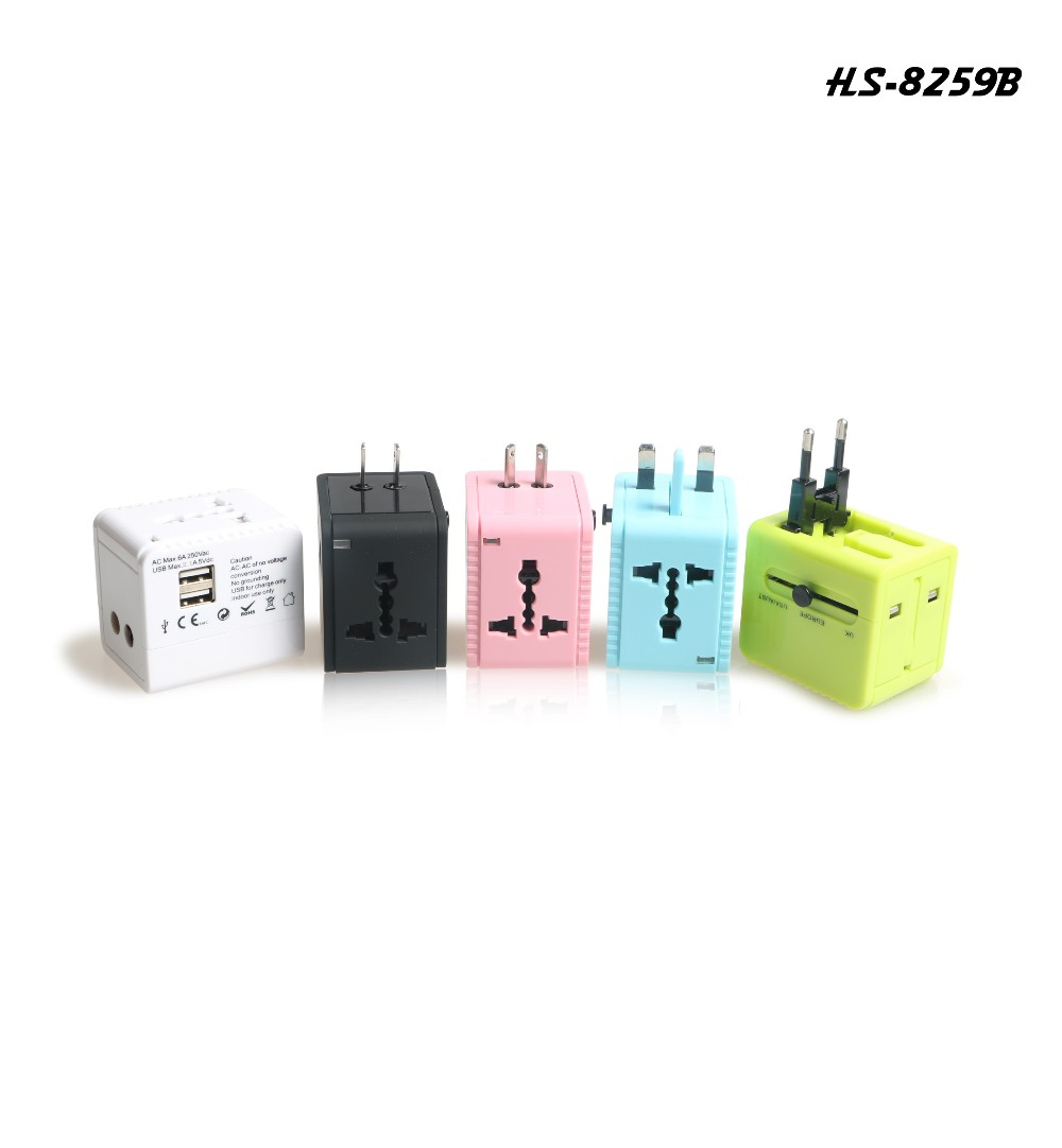 colorful dual usb travel adaptor