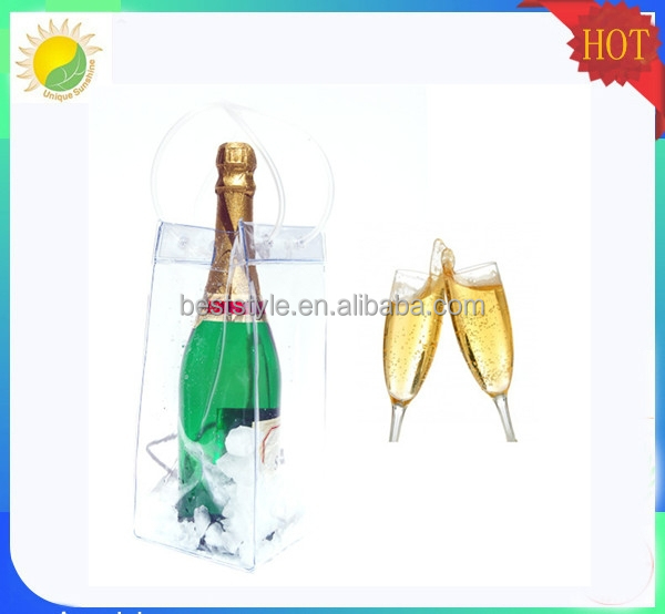 single bottle PVC wine pouch, Ice tube bag