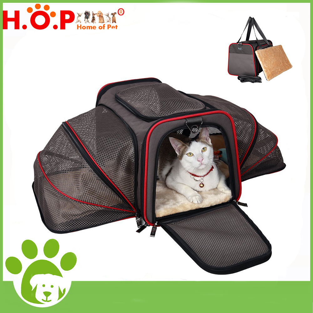 2017 New Products Foldable Waterproof Puppy Cat Bag Two Side Expansion Travel Carriers Expandable Pet Carrier With Air Mesh