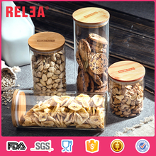 RELEA wide mouth airtight borosilicate glass storage jar glass sundries candy jar with bamboo lid