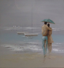 Romantic Lovers walk on the beach oil paintings
