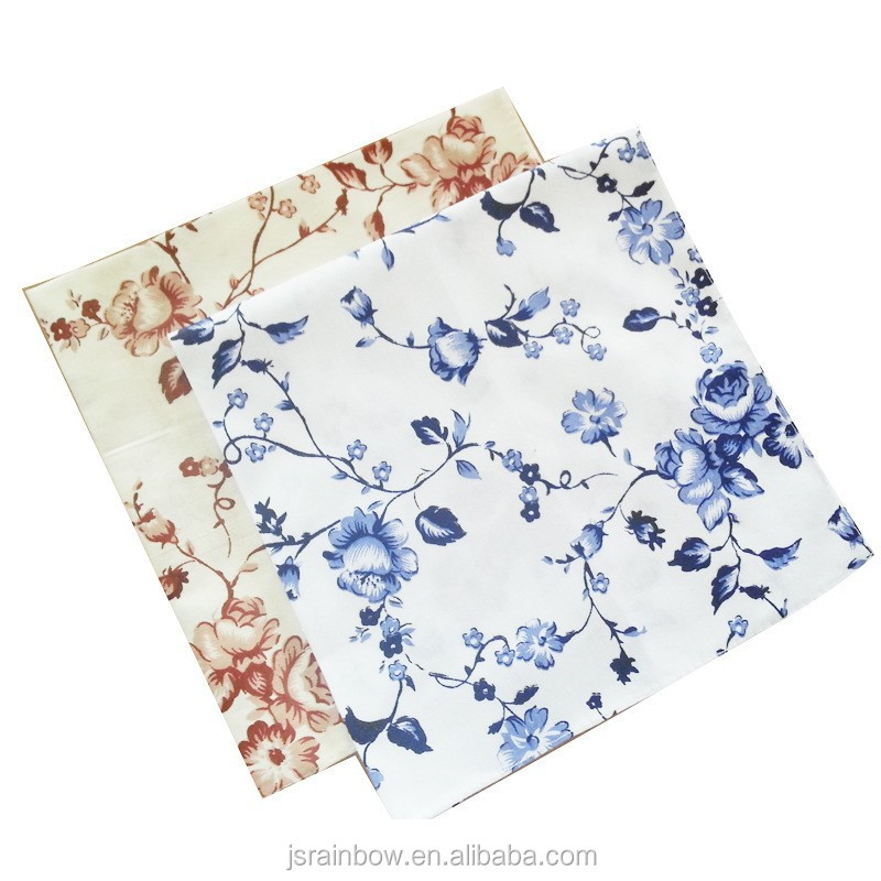 High quality water absorption cotton /linen digital print flower table napkin wholesale