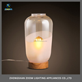Modern glass modern table lamp for hotel guestroom or bedroom night lighting