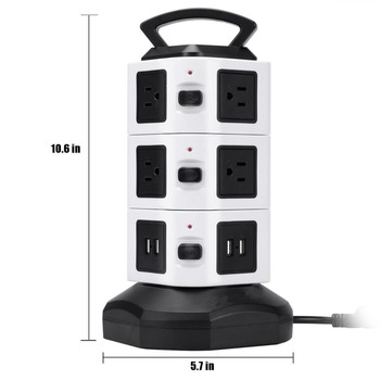 Vertical Power Socket Multi-function Plug with 10 US Sockets 4 USB Charging Ports