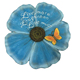 Round Shape Resin Memories Beautiful Flower Garden Stepping Stone With Blue Color