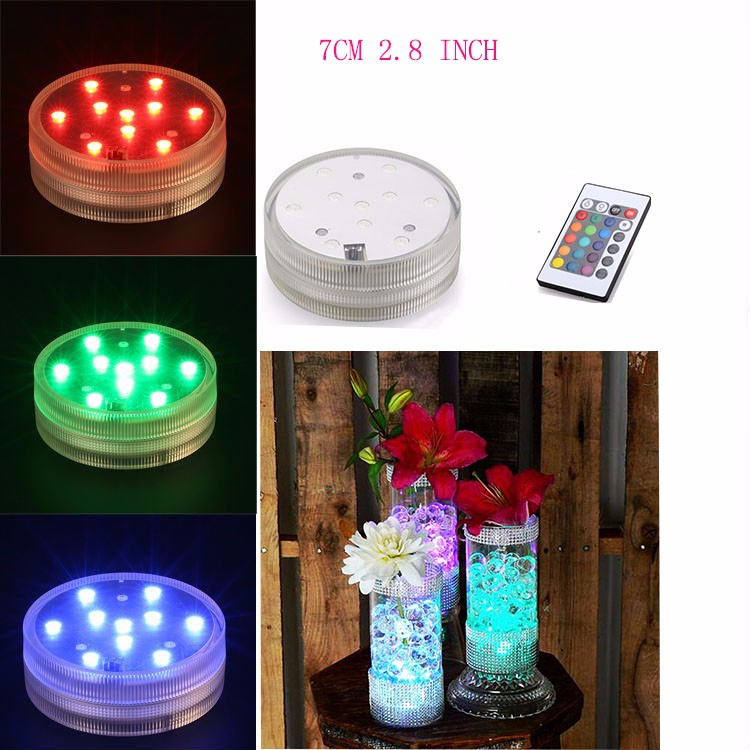 Navidad <strong>christmas</strong> 10 LED Multi Color Submersible Waterproof Wedding Party Vase Base Light + Remote Diamond embroidery
