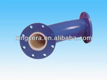Abrasion resistant alumina ceramic ring lined pipe