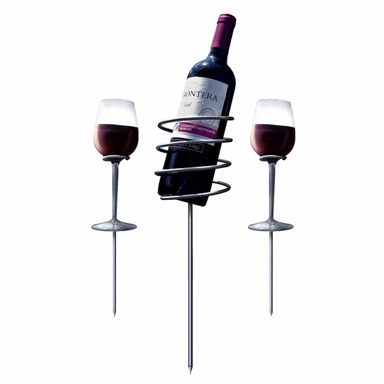 Picnic Stainless Steel Stix Wine Glass and Bottle Holders wine stake
