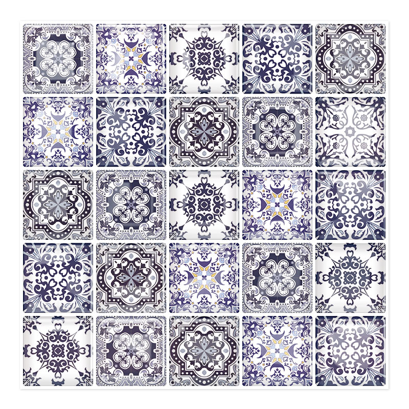 Vintage Bilbao 10'' x 10'' Peel and Stick Mosaic Tile in blue/<strong>white</strong>