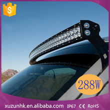"Wholesale 12/24V IP67 50"" 288w curved led light bar 4x4 auto lighting,truck,4WD,JEEP"