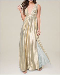 unforgettable empire waist nude effect Sweeping skirt double slit Double V-Neck Metallic Gown