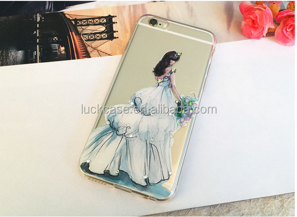 2016 New Arrival Good Quality transparent tpu phone case Inner Diamond TPU Case for iphone 5/5s/6/6s/6p