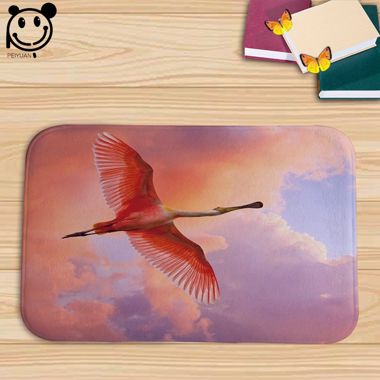 Anti Slip Custom Printed Logo Door Mat Quality-guarantee Unique Style Flannel Bird Doormat