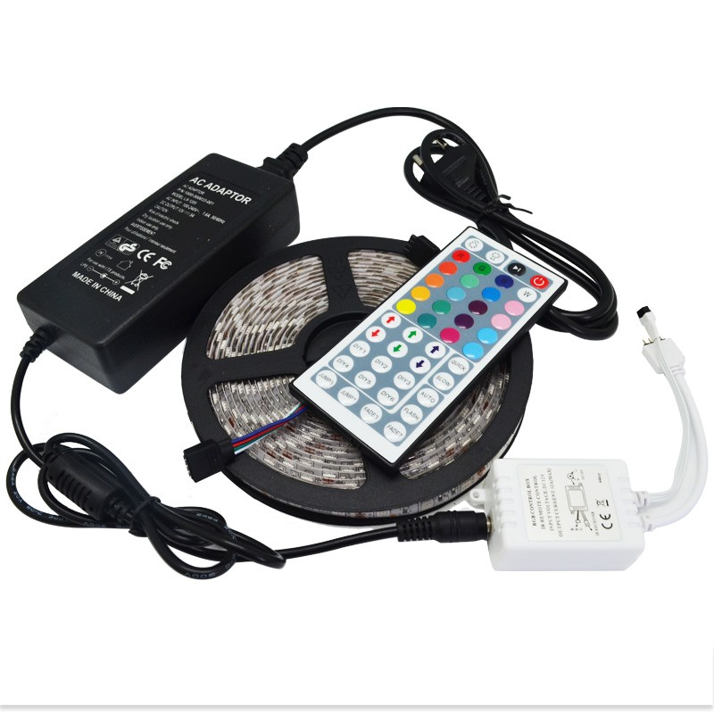 Promotion set 5M Waterproof DC12V SMD 5050 RGB LED Strip Light Flexible with IR 44 Keys Remote Controller