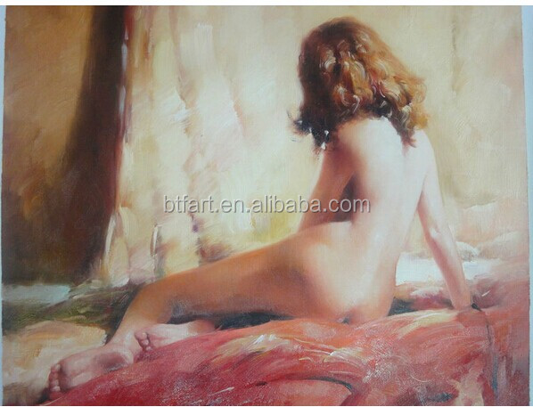 Handpainted Sex Chinese Girl Nude abstract huge wood oil canvas painting