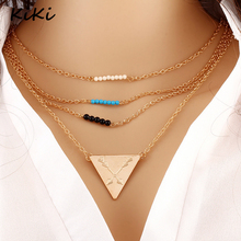 >>>Bohemia Singleline Tower MultiLayer Chain Triangle Bead Pendant Necklace for Women Chocker Collar Jewelry Accessories
