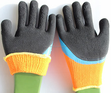 Suncend SAFETY EN388 warm liner coat blue latex palm black form winter working gloves China