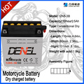 Factory Supply Lead Acid 12n5-3b motorcycle battery with high quality