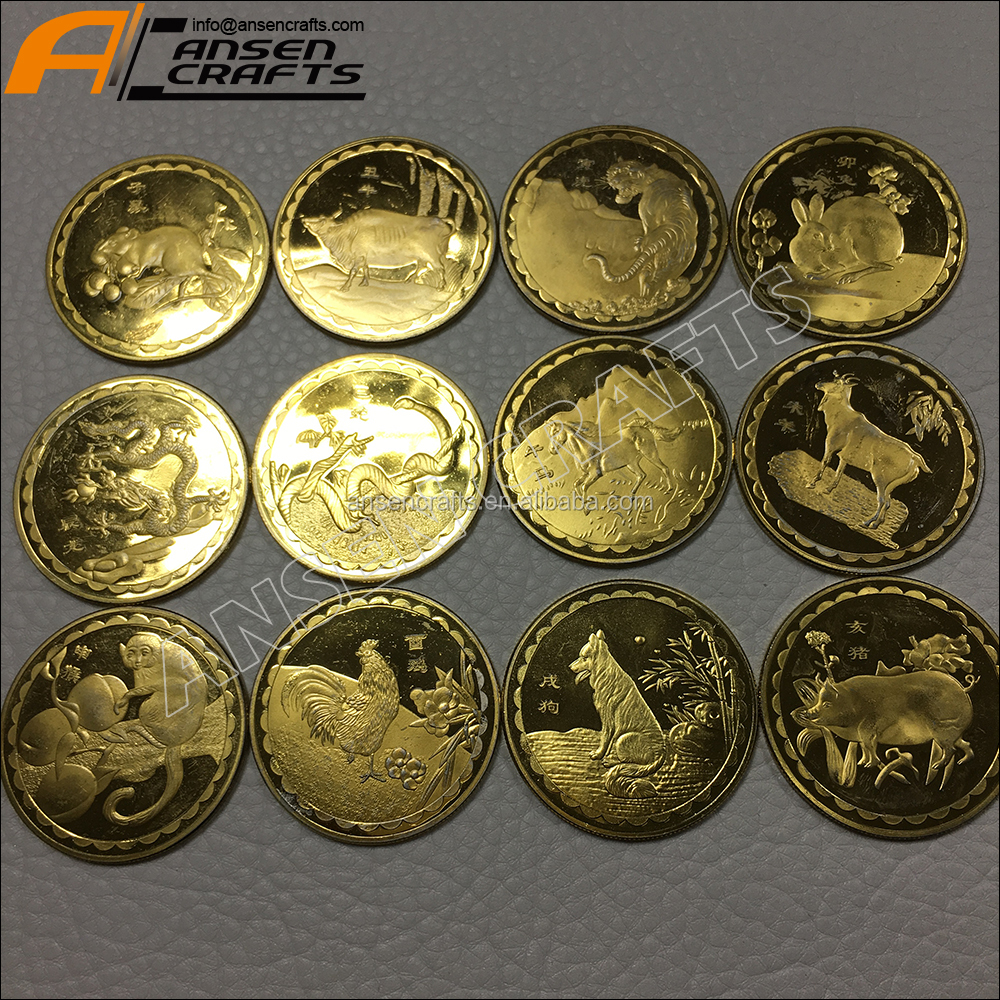 Stamping Twelve Chinese zodiac gold souvenir metal zinc alloy signs coins