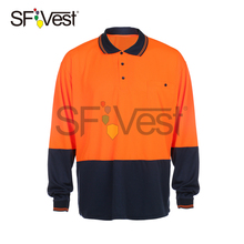 Australia AS/NZS 4602.1 Custom 100% Polyester Security Reflective Polo Long Sleeve High Visibility Hi Vis Work Safety T Shirt
