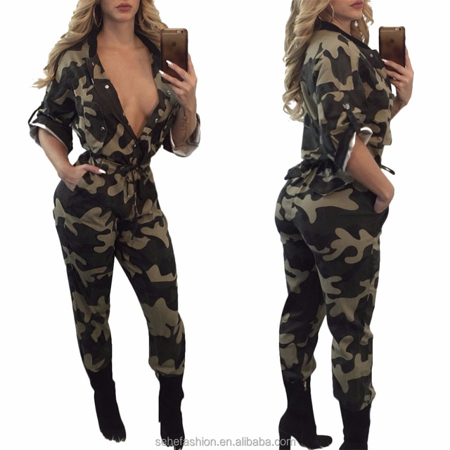 80306-MX6 Sexy jumpsuit camouflage women rompers long sleeve bodycon playsuit ladies jumpsuit