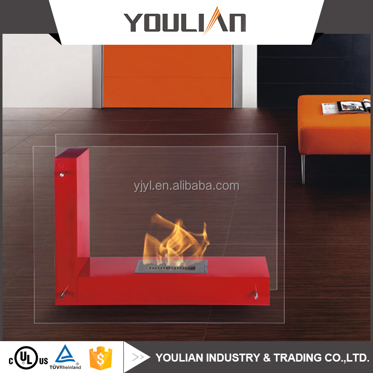 Manufacturer wholesale free standing portable glass bio ethanol Fireplace