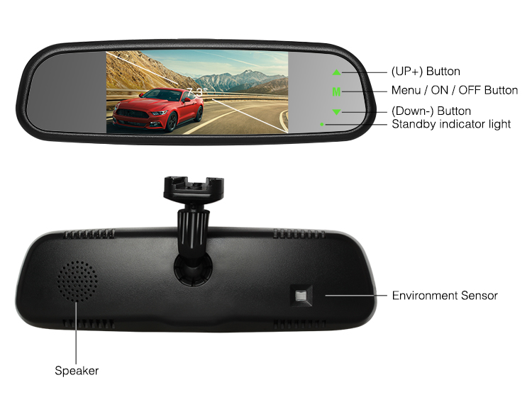 high brightness 7.36 inch tft lcd rearview car monitor Car Reversing rear view camera mirror monitor