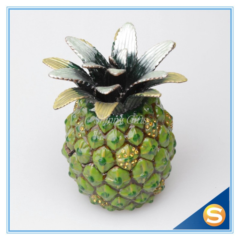 Pineapple Pewter Jewelry Box Trinket Box